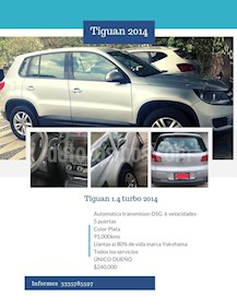 Volkswagen Tiguan Sport & Style 1.4 usado (2014) color Plata precio $240,000